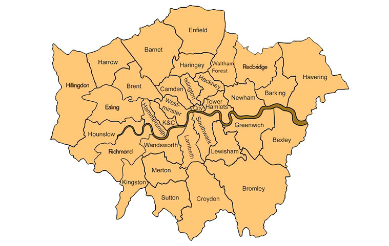 Windscreen Repair Replacement And Windshield Repair In London - Map of north london areas